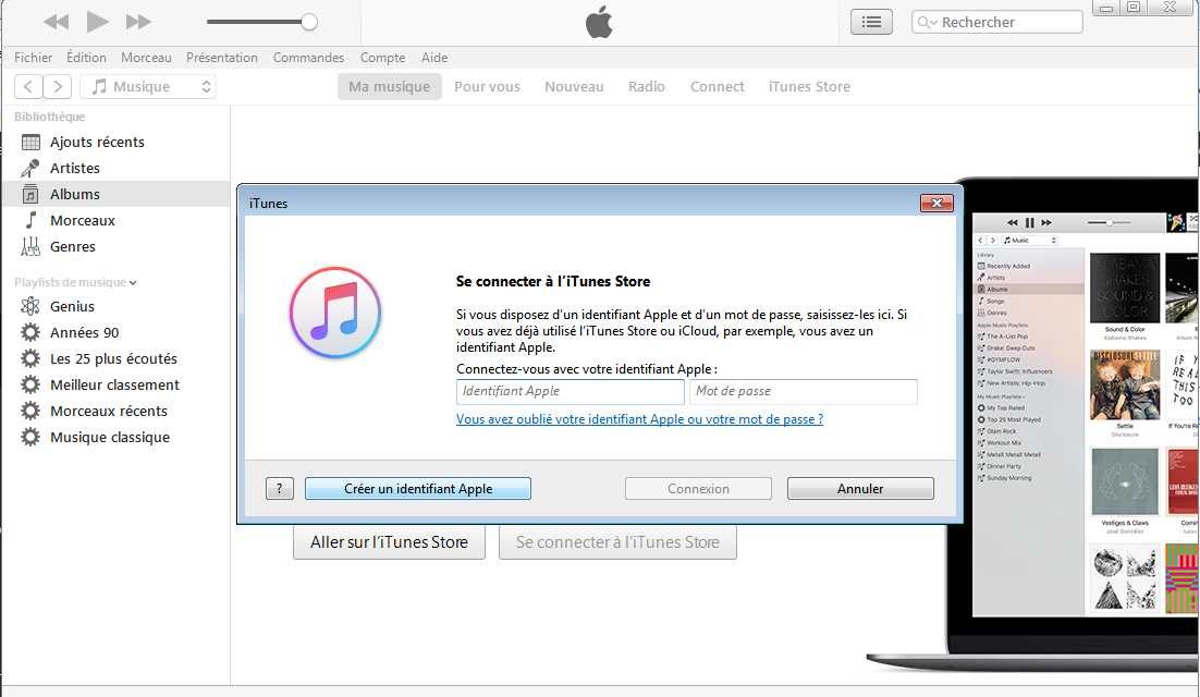 creation compte itunes