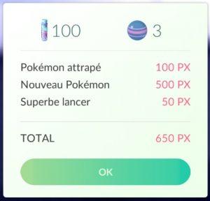 Capturer un Pokémon permet de gagner de l'expérience