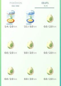 Oeufs Pokémon 2 km