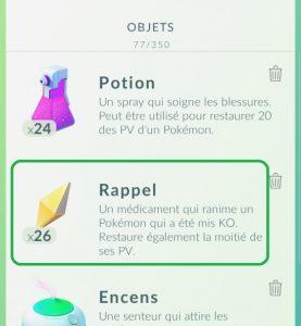Rappel Pokemon GO